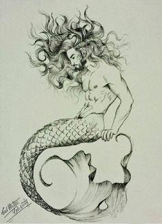 Mermaid Drawings, Mermaid Tattoos, Mermaid Tail Drawing, Drawings Of Mermaids, Mermaid Pisces Tattoo, Beautiful Mermaid Drawing, Siren Tattoo, Deep Tattoo, Mermaid Sketch