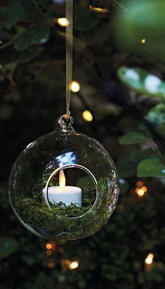 Rose Gold Copper Metal Eternity Sphere Glass Candle Tea Light Holder Ornament