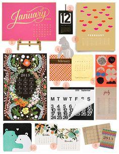 Our favorite 2013 Calendars: http://www.designsponge.com/2013/01/2013-calendars.html