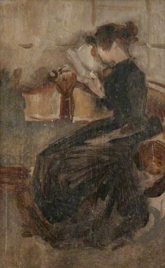 A Girl Seated on a Sofa Reading a Book by Beatrix Whistler Date painted: 1884–1896 Oil on panel, 26 x 18.1 cm Collection: Hunterian Art Gallery, University of Glasgow   Date painted: 1884–1896 Oil on panel, 26 x 18.1 cm Collection: Hunterian Art G...