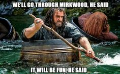 """one pinner said: """"The barrel ride at the Elves' theme park will be delightful, he said. No one will shoot arrows or try to murder you, he said."""""""