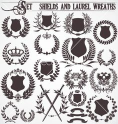 Set - shields and laurel wreaths vector on VectorStock®