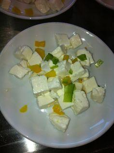 Panela con pimiento y mango