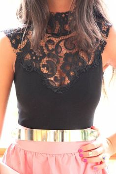 I love the black lacy top!  I'm just obsessed with lace, guys haha.
