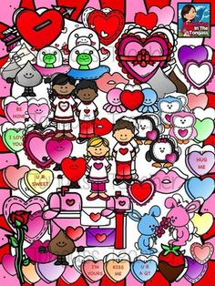 MEGA Valentines Day Clipart Bundle from tongassteacher on TeachersNotebook.com -  (105 pages)  - The bundle includes conversation hearts, penguins, owls, octopus, aliens, bunny rabbits, smiley heart friends,hearts, chocolate kisses and hug,box of chocolates, chocolate dipped strawberry, lips, lov