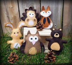 diy Hand Sewing felt animals of Mini Woodland - pine cone, Hedgehog, Owl, Fox, Rabbit, Bear, decoraiton ideas
