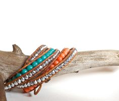 Leather wrap bracelet silver jade coral turquoise salmon pink etsy handmade Soliz Jewelry $44