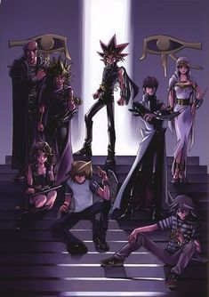 Yami (Atem), Bakura Ryo, Odion, Ishizu, and Mariku Ishtar, Mai Valentine, Joey Wheeler, and Seto Kaiba.