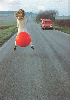 I loved these bouncy balls! (I stayed out of the street though - but I love that she's going somewhere...however she can get there!)Donna can r ride this one