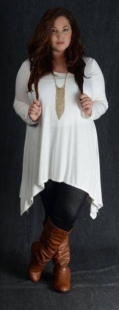 Ivory Asymmetrical Hem Top