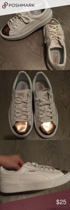 772a67f51 Puma shoes Rose gold metallic toe white puma creepers. Very comfortable.  Worn once to