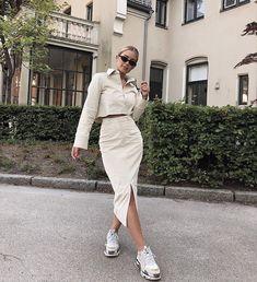 white cropped jacket white midi skirt with slit for summer fashion style inspiration