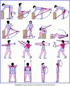 Tabla de ejercicios con gomas  beneficios de los ejercicios con gomas son los siguientes: Mejorar la fuerza, la potencia, la velocidad, la resistencia y la elasticidad Consiguir una base muscular para desarrollar posteriormente la potencia aeróbica. Mejorar la condición física general Evitar y prevenir lesiones.