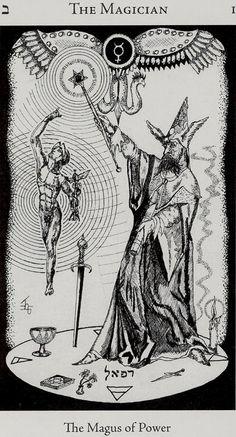 HE- I - El Mago: Es interesante que en este tarot muestre al Dios Mercurio, La serpiente elevada y otro signos esotéricos ocultos.  the magician: