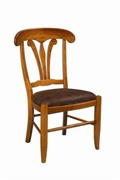 Long Valley Dining Chair from DutchCrafters Amish Furniture. Lovely French Country style dining chair made from solid wood in Lancaster County, PA. Made to order in your choice of wood and finish, with or without arms, and with a solid wood, upholstered, or fiber seat. #diningchairs #frenchcountrydiningchairs