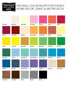 The ideal color pallet for today's home decor, craft and art projects.