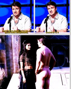 Nathan Fillion talks about his butt. (gif set)