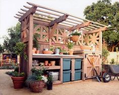48 creative potting bench plans to organized and make gardening work easy create a diy garden bench using items you already have at home Potting Bench Plans, Potting Tables, Potting Sheds, Potting Bench With Sink, Outdoor Potting Bench, Garden Buildings, Garden Structures, Garden Table, Garden Pots