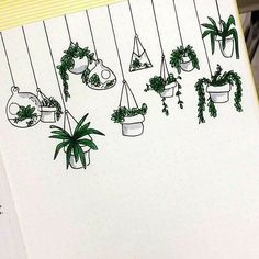 Cute easy-to-draw hanging plant doodles. I'm adding these to my bullet journal planner! Bullet Journal Inspo, My Journal, Bullet Journals, Bullet Journal Grade Tracker, Beauty Journal, April Bullet Journal, Sketch Journal, Bullet Journal Themes, Journal Design