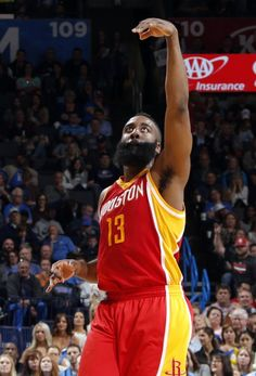 Houston's James Harden (13) celebrates a 3-point basket during the NBA basketball game between the Oklahoma City Thunder and the Houston Rockets at the Chesapeake Energy Arena, Sunday, April 5, 2015, in Oklahoma City. Photo by Sarah Phipps, The Oklahoman