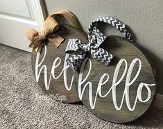 Hello Front Door Hanger by ThreeLittleSigns on Etsy Porch Doors, Family Christmas Ornaments, Hello Sign, Man Crafts, Stocking Holders, Hello Summer, Front Door Decor, Handmade Decorations, Just Giving