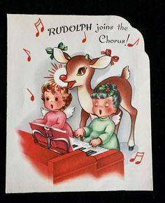 VTG Christmas Greeting Card Rudolph the Red-Nosed Reindeer Angels Piano RLM