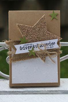 """Adventskalender to go"" - Stampin´ Up! Artisan DesignTeam BlogHop 13.11.2014 - Verpackung mit Prägefolder ""Glückssterne"" und Juteband"