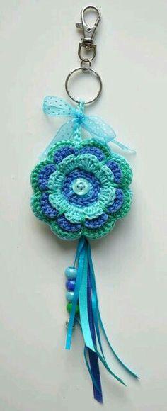 Flower keychain #crochet #flower #keychain