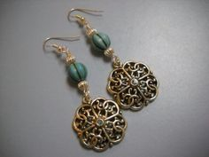 Silver and Turquoise Howlite Beaded Earrings by Beads4You2008,
