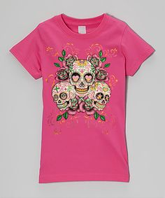 Another great find on #zulily! Micro Me Hot Pink Sugar Skulls Fitted Tee - Infant, Toddle & Girls by Micro Me #zulilyfinds