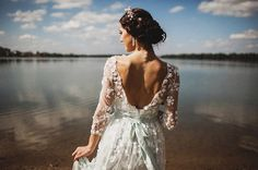 The last one! Wedding dress from Chiffon, Long sleeve wedding dress ,Open V-back wedding dress Romantic and Dreamy Wedding Dress