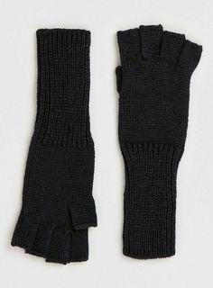 Black Long Fingerless Gloves