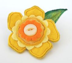 Daffodil Dream  A Funky Felted Floral Brooch by therainbowroom, $17.50