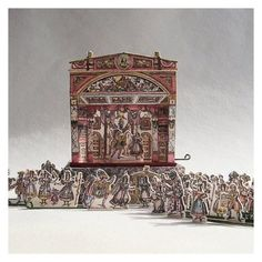 Front View - Miniature version of a Victorian Toy Theater by Open House Miniatures - http://openhouseminiatures.wordpress.com/2011/07/23/victorian-toy-theatre/  The theater stage measures 1 5/8 inches wide x 1 inch deep x 1 7/8 inches tall. The Cinderella set comes with 7 scenes, 5 pairs of side wings, a coach, fountain and 28 characters