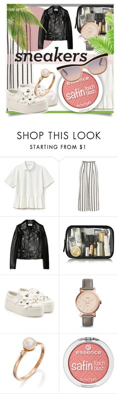 """""""So Fresh: White Sneakers"""" by kari-c ❤ liked on Polyvore featuring Lacoste, Finders Keepers, Yves Saint Laurent, Marc Jacobs, FOSSIL, Swarovski and whitesneakers"""