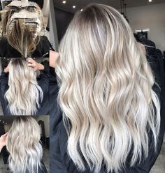 Blonde balayage, long hair, cool girl hair ✌ lived in hair colour blond Ash Blonde Hair, Balayage Hair Blonde, Blonde Color, Hair Colour, Cool Toned Blonde Hair, Cool Ash Blonde, Blonde Foils, Bright Blonde Hair, Dark Balayage