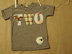 Boys Barnyard Farm Animal Birthday Shirt Organic Blend Farm Party Animal print and plaid. $30.00, via Etsy.