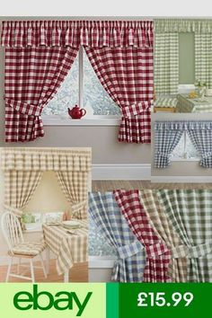 Curtains & Pelmets Home, Furniture & DIY Check Curtains, Home Curtains, Lined Curtains, Modern Curtains, Colorful Curtains, Valance Curtains, Country Kitchen Curtains, Vintage Kitchen Curtains, Kitchen Curtain Sets