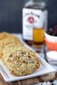 Bourbon Salted Caramel Oatmeal Cookies   beyondfrosting.com   #bourbon #saltedcaramel