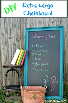 DIY Extra Large Chalkboard - Easy project you can do in a day and so much less expensive than buying a premade large chalkboard!  H2OBungalow.com