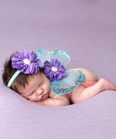 Another great find on #zulily! Turquoise & Purple Headband & Wing Set by The Tiny Blessings Boutique #zulilyfinds