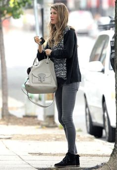 Gisele Bundchen wearing Loewe May bag Black Orchid mid rise jeggings in Silver Shatter Heartloom Cassidy sweater