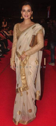 Diya Mirza in Golden Saree  #DiyaMirza, #Saree, #designersaree