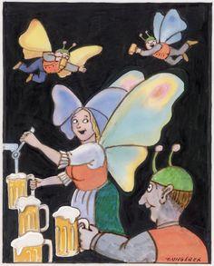 """Dessin de Tomi Ungerer réalisé pour l'affiche de la « fête de la bière Schiltigheim 2009, 2010 et 2011"""""""