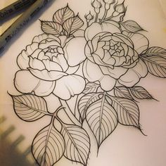 Neo traditional flower tattoo