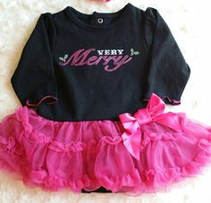 Newborn Christmas Onsie with pink skirt  Pick the Headband you want.  The…