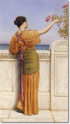 John William Godward - A Choice Blossom 1918 - Approximate Original Size - 10x6 Painting