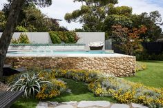 Blairgowrie - Ian Barker Gardens Fire Pit Base, Fire Pit Seating, Sense Of Place, Rustic Gardens, Garden Pool, Pool Designs, Native Plants, Outdoor Entertaining, Beautiful Landscapes