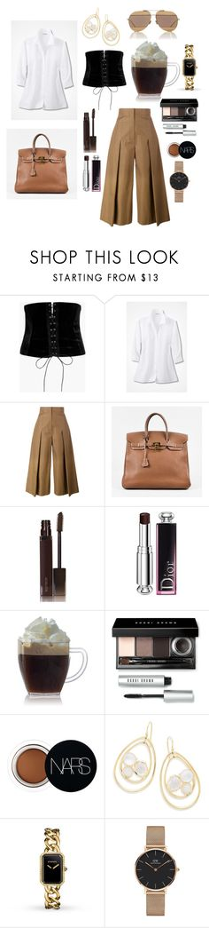 """coffee chat."" by comerttaylan ❤ liked on Polyvore featuring Boohoo, Fendi, Hermès, Laura Mercier, Christian Dior, Bobbi Brown Cosmetics, NARS Cosmetics, Ippolita, Chanel and Daniel Wellington"