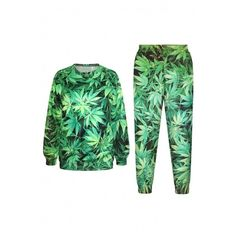Leaf Print Round Neck Long Sleeve Sweatshirt with Pants (3.120 RUB) ❤ liked on Polyvore featuring tops, hoodies, sweatshirts, long tops, green sweatshirt, round top, long sweatshirt and long sleeve tops